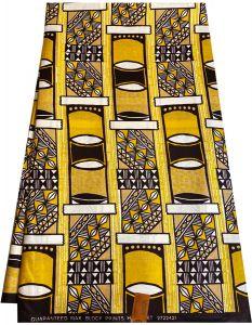 Golden Ankara Shiny Print Fabrics. Yellow Gold, White & Chocolate.