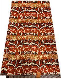 African Ankara Shiny  Print Fabric-Orange ,Cream ,Green &Black .