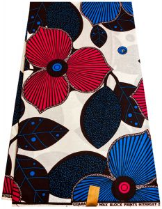 African Floral  Wax Print Fabric- White ,Blue ,Pink ,Black &Purple .