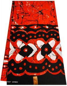 Guaranteed wax Batik  print fabrics - Orange ,Black &White .