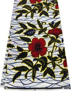 African Ankara Wax Print Fabric-Green ,Red, Blue &White.