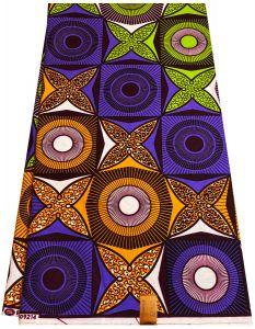 Beautiful Ankara wax print fabrics -Orange ,Black , Lime, Yellow & Blue.